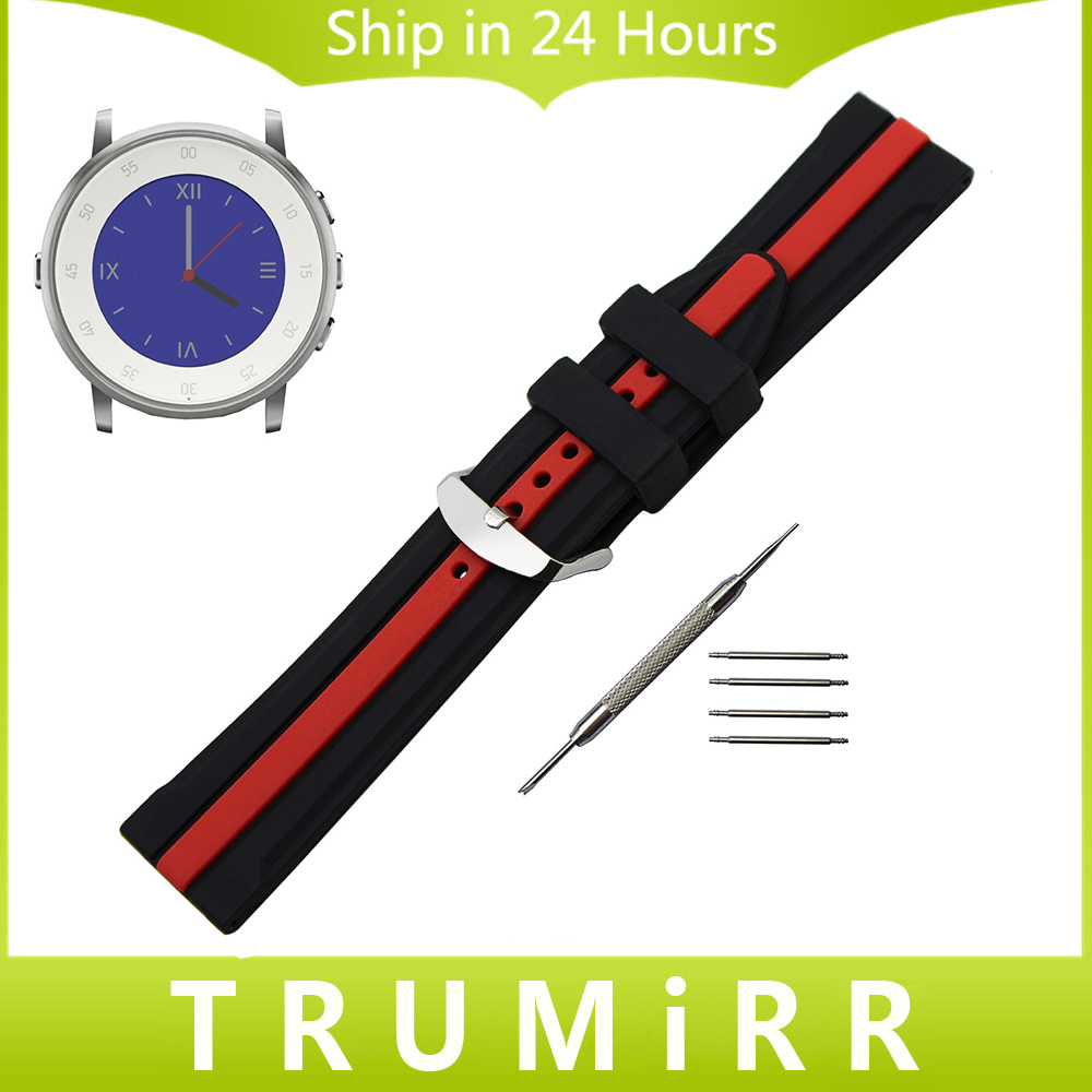 Silicon Rubber Watchband + Tool for Pebble Time Round 20mm Bradley Timepiece Stainless Steel Buckle Strap Wrist Bracelet Black 20mm silicone rubber watch band for pebble time round 20mm bradley timepiece stainless steel buckle strap resin bracelet black