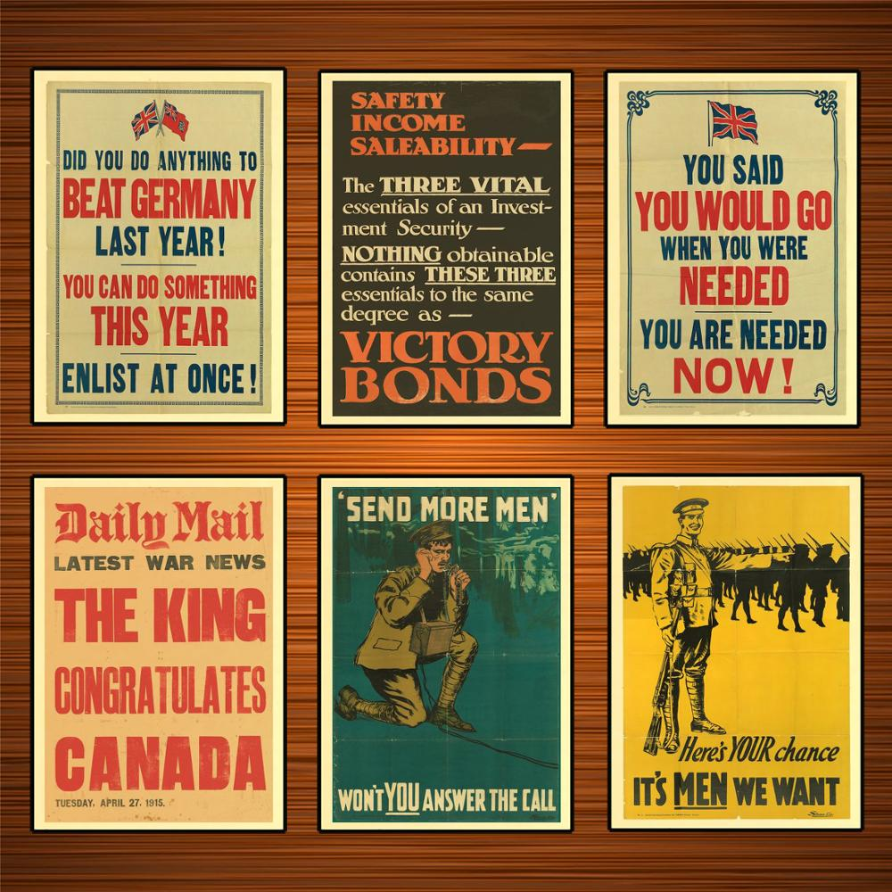 Vintage 1910s Canada WW1 Propaganda Poster Kraft Posters Classic Canvas Paintings Wall Stickers Home Decor Gift image