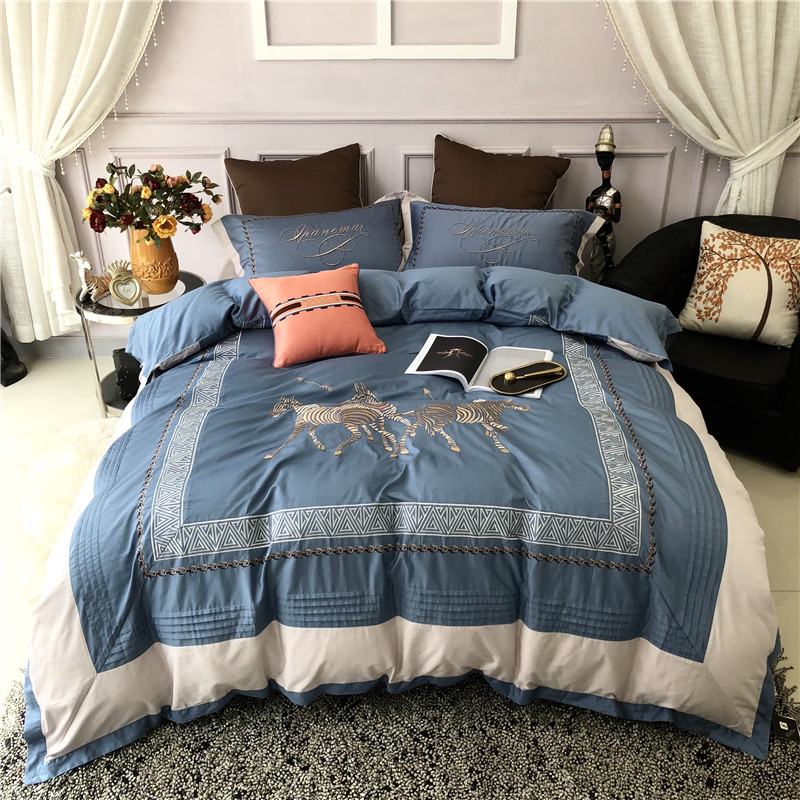 New Luxury European style Horse Embroidery 60S Egyptian Cotton Blue Gray Bedding Set Duvet Cover Bed sheet Bed Linen Pillowcases in Bedding Sets from Home Garden