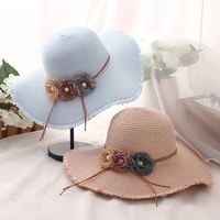 HT1302 Ladies Summer Straw Hats Wholesale Female Flower Foldable Beach Sun Hats Solid Large Big Wide Brim Floppy Hats Women Hats