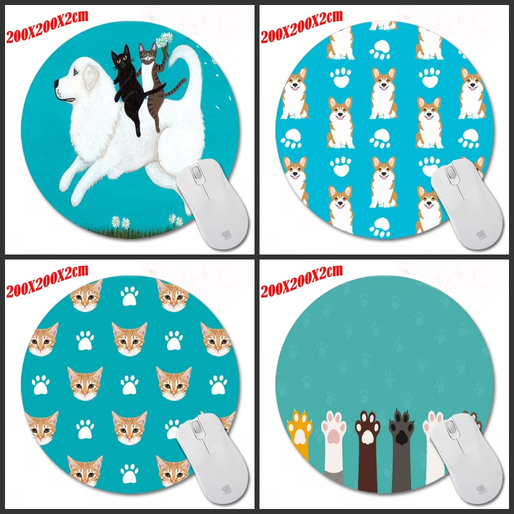 Mairuige Print Cat Paw Unique Desk Pad Computer Animation Mats Mouse Round Round Mat Mice Cushion 200*200*2mm