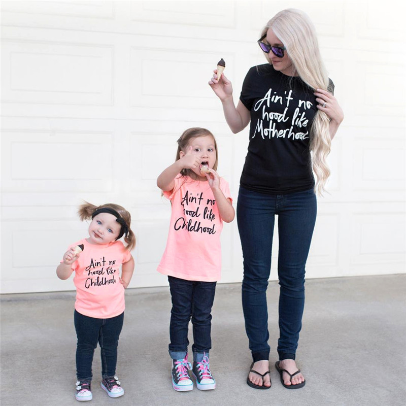 Summer Family Matching Outfits Mommy and Me Clothes Letter Short Sleeved T-shirt Mother Daughter Tees Tops Family Look Clothing