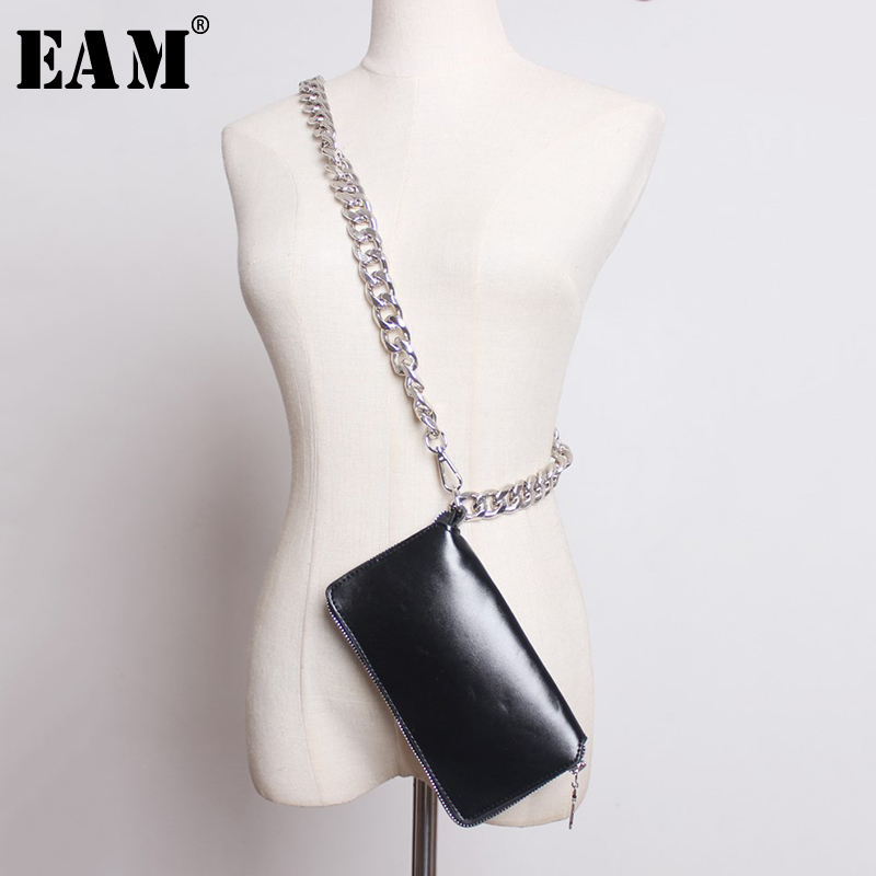 [EAM] 2019 New Spring Autumn Pu Leather Personality Black Plaid Brief Mini-bag Stitch Accessories Women Fashion All-match JY370