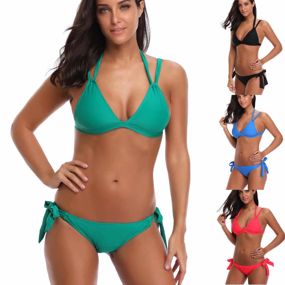 2e0d1ba449b Women Strap Bow Split Bikini Set Female Plus Size Swimsuit Bather Suit  Swimwear Beachwear Brazilian Maillot