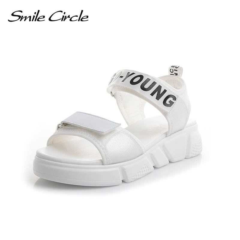 Smile Circle Summer Sandals Women Comfort Outdoor casual shoes For women Flat platform Shoes 2018 summer shoes pink white black women creepers shoes 2015 summer breathable white gauze hollow platform shoes women fashion sandals x525 50