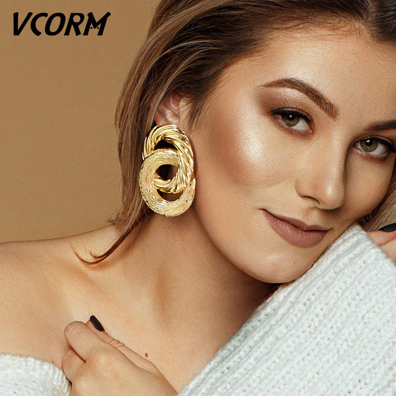 VCORM Vintage Fashion Gold Big Pendant Earrings for Women Geometry Crossed Metal Loops Drop Earrings Statement Women Jewelry