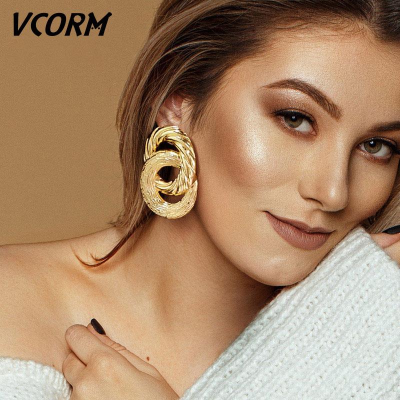 VCORM Vintage Fashion Gold Big Pendant Earrings for Women Geometry Crossed Metal Loops Drop Earrings Statement Women Jewelry(China)