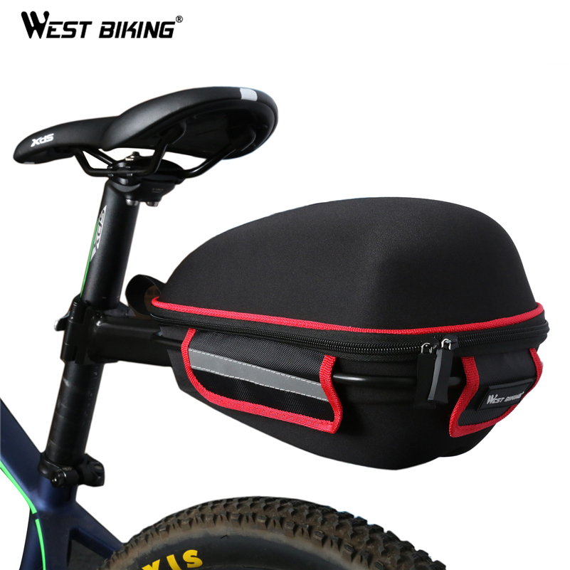 WEST BIKING Bike Rear font b Bag b font Reflective Waterproof Rain Cover Portable Mountain Road