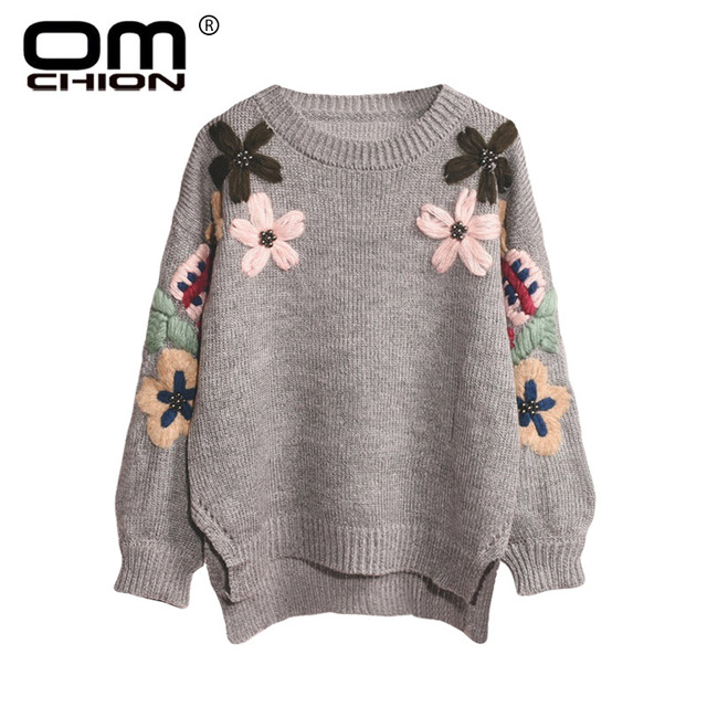 19a14528fc8f OMCHION Sueter Mujer Floral Embroidey Sweater Women 2018 Winter O Neck  Beading Pearl Sweet Pullover Casual Knit Jumper LMM258