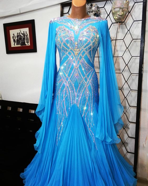 GOODANPAR New Modern Competition Waltz Tango Ballroom Dance Dress Standard Girls Women Bule Crumple Sexy Dress