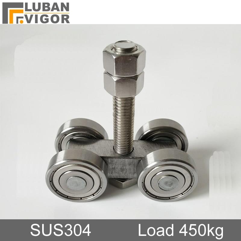 SUS304,Heavy-duty Sliding Door Hanging Wheel Industrial Warehouse,sliding Doors,Orbital Track Bearing 450KG Hanging Pulley