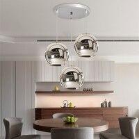 3X Серебряный стеклянный современный подвесной светильник кухонный Остров подвесные светильники Спальня Lighs домашний бар отель подвесной п