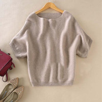 Autumn And Winter Slit Neckline Cashmere Sweater Female Loose Plus Size Batwing Shirt Short Sleeve Knitted