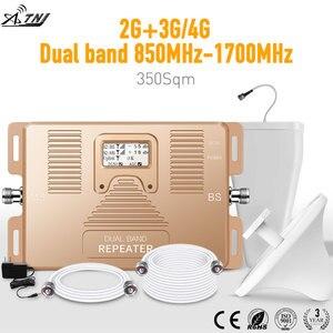 Image 5 - スマートデュアルバンド 2 グラム/3 グラム + 4 グラム携帯電話の信号ブースター 850/AWS1700/2100 モバイル信号リピータ携帯信号アンプキット