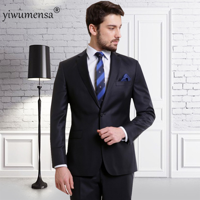 yiwumensa costume homme mariage 2018 mens formal wear tweed suit men Black  mens 2 piece suits 45414dd3a720