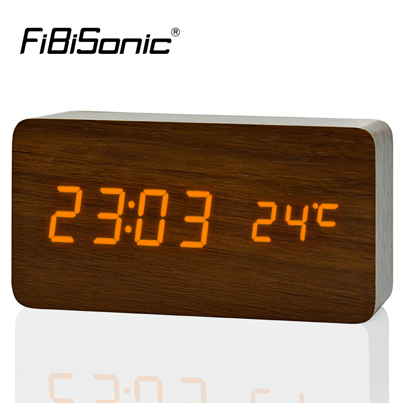 Large Size Wooden Alarm Clocks with Thermometer Rectangle Table Clocks Big  Numbers Digital Clock Classic LED Wooden Clocks eb1c618760