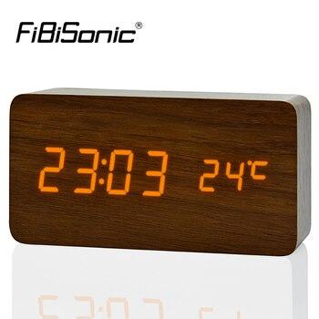 Réveils en bois de grande taille avec thermomètre horloges de Table Rectangle grands chiffres horloge numérique horloges en bois classiques LED