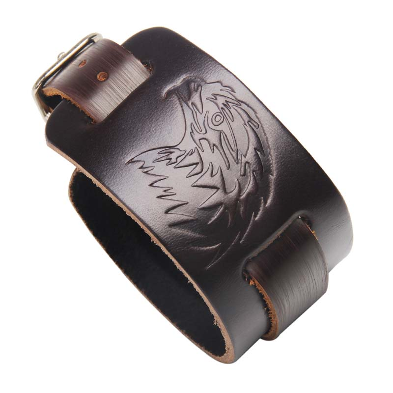 MJARTORIA 2018 New Male Punk Rock Style Eagle Leather Bracelet Men Black Brown Imprint W ...