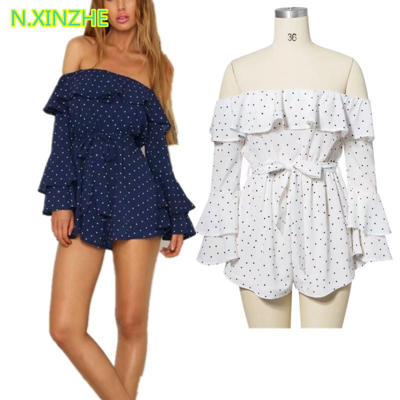 2018 Women Clothing Long Sleeve Slash Neck Off The Shoulder Ruffles Dot Jumpsuits Rompers Female Sexy Loose Seersucker Playsuits by N.Xinzhe