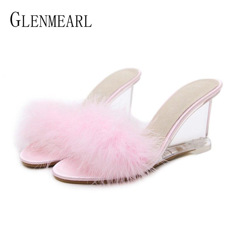 Femmes pantoufles fourrure chaussures été talons hauts femme sandales compensées cristal Transparent Mules chaussures marque mariage chaussures grande taille