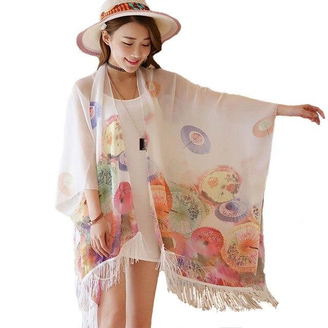 f40cbae8eb1a1 Women Lightweight Poncho Pashmina Scarf Umbrella Prints Chiffon Beach  Swimwear Tunic Shirt Kimono Kaftan Bikini Cover Up