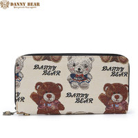 DANNY BEAR White Canvas Wallets For Women Unique Bear Pattern Coin Purses For Teenager Girl Top