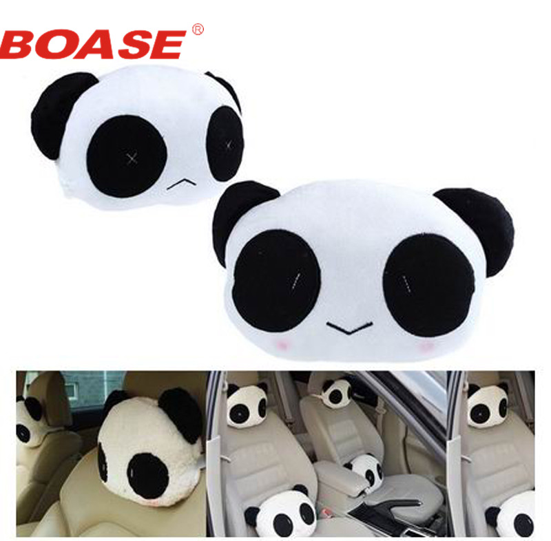 2 pieces / lot Cute Panda Car Seat Head Waist Neck Lumbar Rest Cover Cushion Pad Pillow Travel