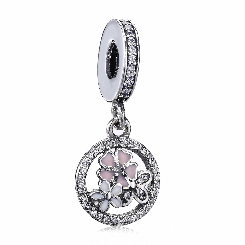 925 Sterling Silver Pink Flower Poetic Daisy Cherry Blossom Pendant Enamel Beads & Charms Fit Pandora Bracelets & Necklace