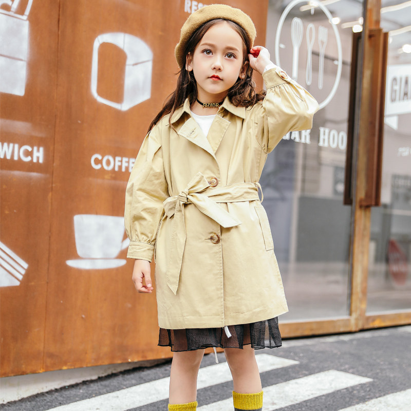 где купить 2018 Spring Autumn Baby Girls Long Windbreaker Coat for Children School Kids Sassy Teens Clothes 4 5 6 7 8 9 10 11 12T Years Old по лучшей цене