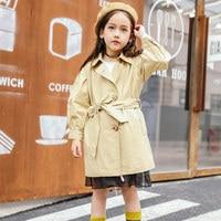 2018 Spring Autumn Baby Girls Long Windbreaker Coat For Children School Kids Sassy Teens Clothes 4