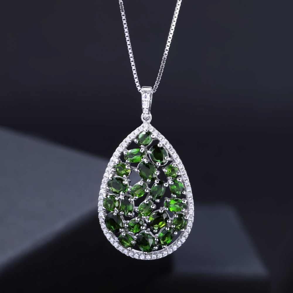 Pulseira de balé 5.98ct natural cromo diopside 925 sterling sliver clássico pingente colar para mulheres noivado jóias finas