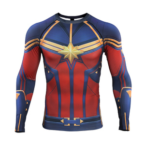 Image 2 - Captain Marvel 2019 New 3D Compression Shirt Printed shirts Men Compression Shirt Cosplay Quick drying clothes For Gyms T Shirts