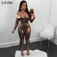ZJFZML PU cuero Sexy Bodycon Jumpsuit mujeres Deep v-cuello manga larga Skinny Catsuit fuera del hombro Party Club Romper Sashes