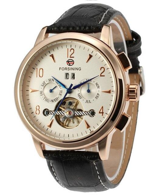 Forsining Men's Tourbillon Automatic Mechanical bussiness dress watch self-wind watches luxury brand gold blue relogio masculino