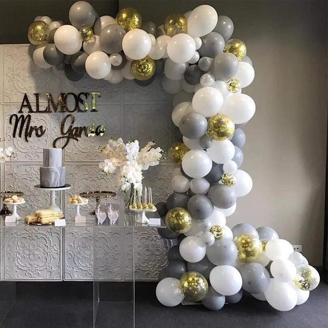 Megable 100 pçs cinza branco látex balões com ouro confetes balões arco kit, para festa de aniversário do casamento decoração do chuveiro de bebê