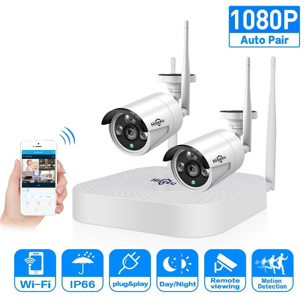 2ch 960 P 1080 P Senza Fili del CCTV Sistema 2 pcs 1.3/2.0MP Outdoor IP Della Macchina Fotografica 4ch 1080 P NVR registratore Video Sistema di Telecamere di Sicurezza Hiseeu