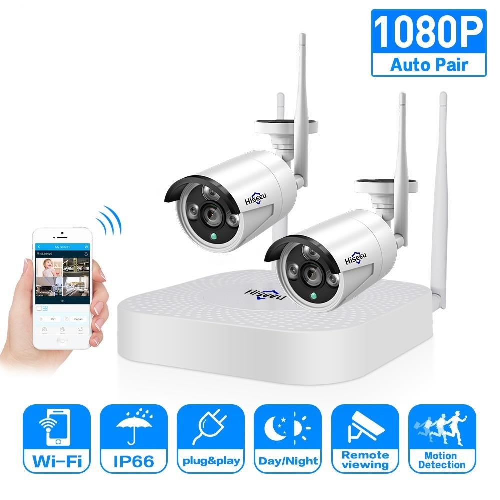 2ch 960 P 1080 P Sistema de CFTV Sem Fio 2 pcs 1.3/2.0MP Ao Ar Livre Câmera IP 4ch 1080 P NVR sistema de Câmera de Segurança gravador de Vídeo Hiseeu