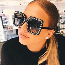 95a75a86cea74 CURTAIN 2019 Hot Shining Diamond Sunglasses Women Brand Design Flash Square  Shades Female Oversized Sun Glasses