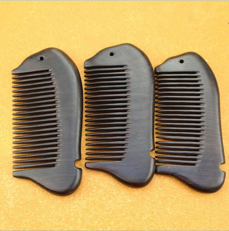 hight quality 11.5cm Real Ebony fish black comb 1 piece Health Care Hair Styling Tools hair brushes best gift