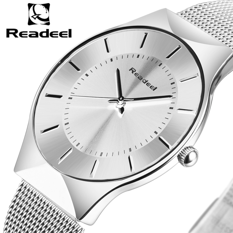 2017 Readeel Top Luxury Watch Men Brand Mens Watches Ultra Thin Stainless Steel Mesh Band Quartz Wristwatch Fashion Casual Watch