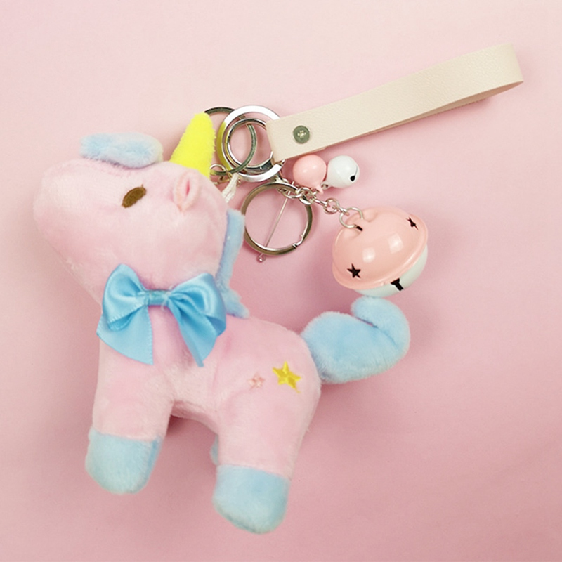1 Pcs Cute Plush Unicorn Keychain Colorfu Unicorn Doll Toy Key Chain Keyrings Women Girl Backpack Purse Car Accessories Excellent (In) Quality