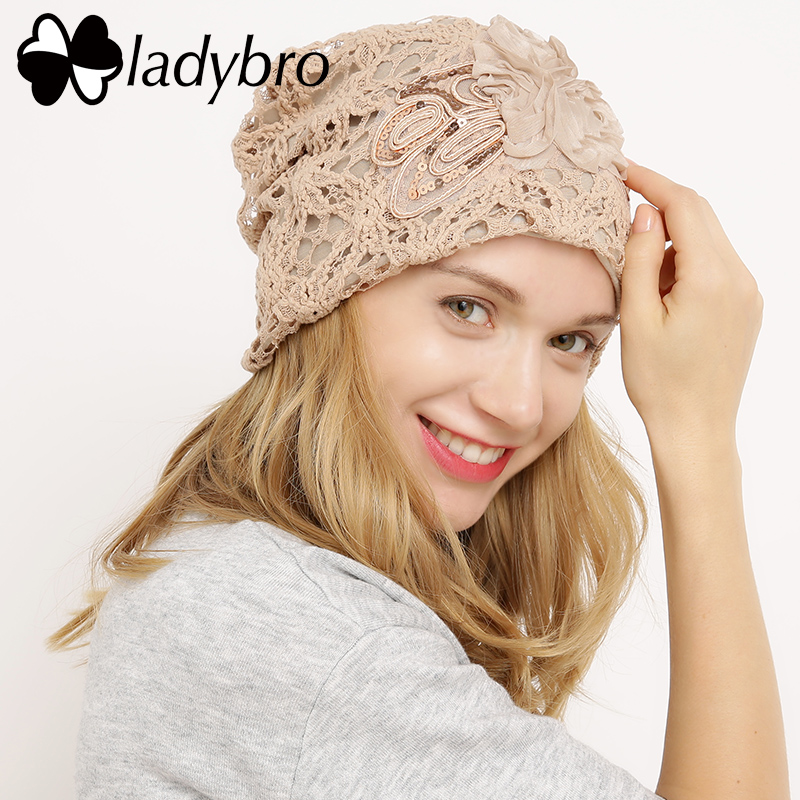 Ladybro Winter Hat Cap Lace Skullies Beanie Hat Female Casual Floral Bonnet Femme Ladies Black Knitted Hat Spring Sequins Cap skullies