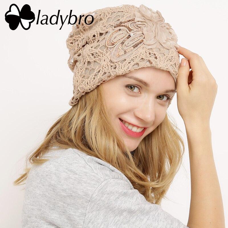 Ladybro Winter Hat Cap Lace   Skullies     Beanie   Hat Female Casual Floral Bonnet Femme Ladies Black Knitted Hat Spring Sequins Cap