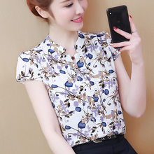 цена womens tops and blouses summer 2019 New Women Chiffon Shirt Floral Print Casual Short Sleeve Blouse Office Work Lady Blusas 3043