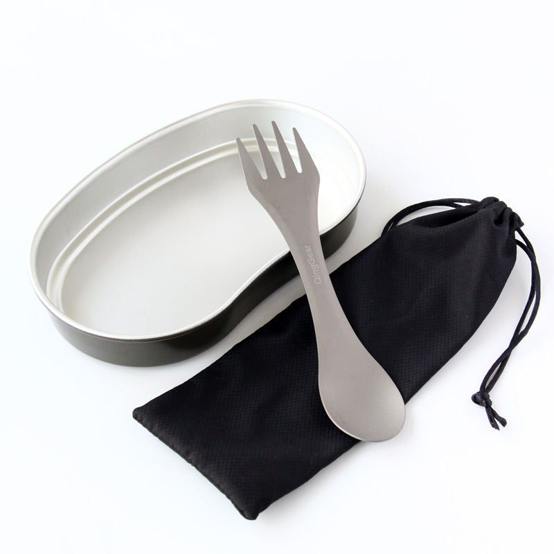 QingGear Titanium Camping Hiking Tableware Spork Fork Spoon Utensil Outdoor Picnic Gadget Outdoor Cooking with nylon Pouch in Outdoor Tablewares from Sports Entertainment