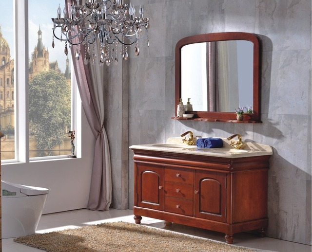 Badkamer Meubel Antiek : Europese stijl antieke houten badkamermeubel met tops b
