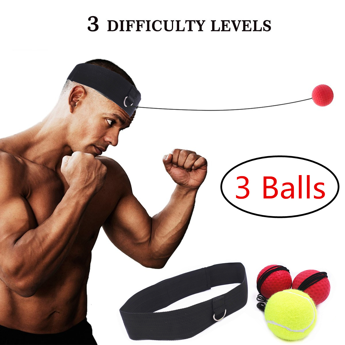 Boxing Reflex Ball Set 3 Difficulty Level Boxing Balls with Adjustable Headband for Punching Speed Reaction Agility Training 3