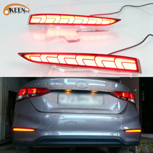 2PCS For Hyundai Solaris Accent 2017 2018 LED Guide Reflector Tail Rear Bumper Light Brake Signal Lamp Auto Fog