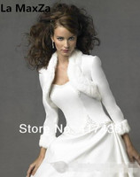 Custom Made Wedding Accessories 3/4 Sleeve Length White Faux Fur Collar Satin Bridal Bolero Shawl Wraps Party Jackets Bride Coat