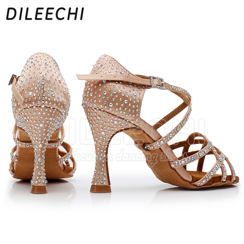 Image 4 - DILEECHI Latin dance shoes women NEW Bronze satin Shining Rhinestone Cuba high heel 9cm Salsa Beige Black Ballroom dancing shoes-in Dance shoes from Sports & Entertainment